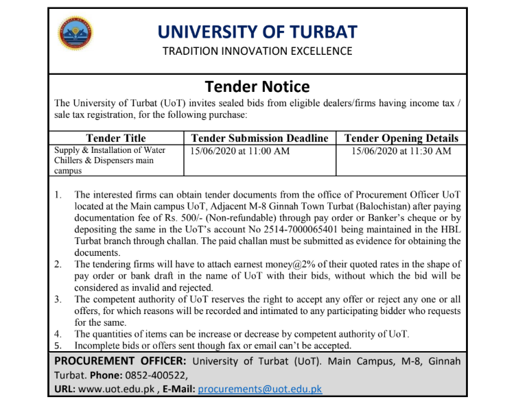 Tender Notice (Supply of Water Chillers & Dispensers for UoT main campus)