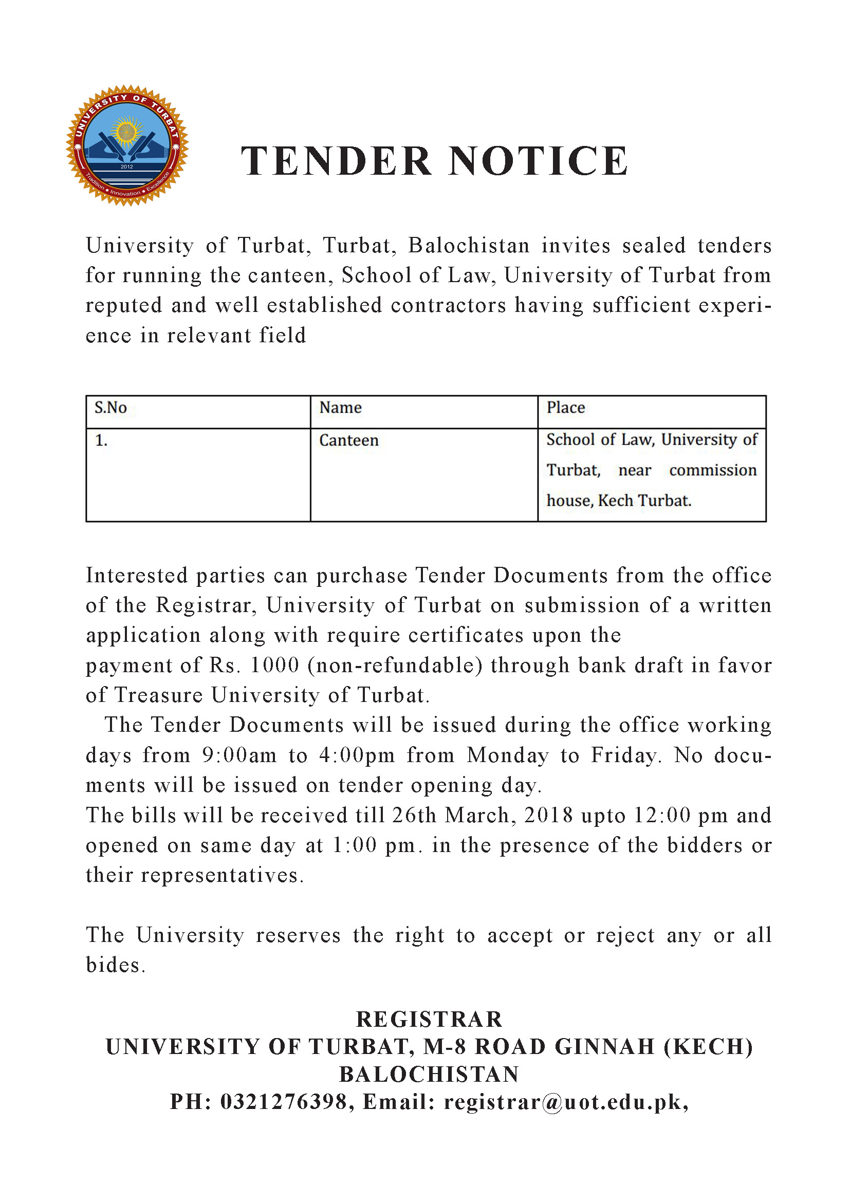 Tender Notice for Canteen (School of Law, UoT)
