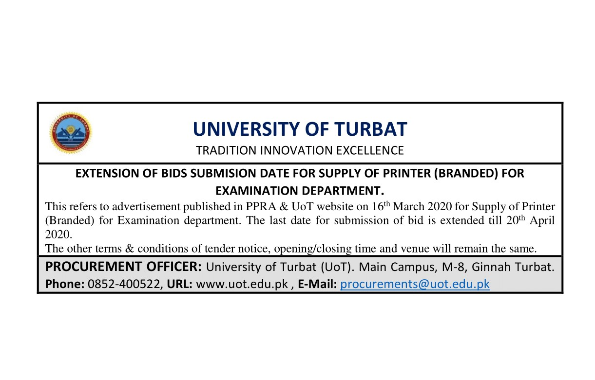 Corrigendum for Extension of BIDs Submission Date of Tender Notice (SUPPLY OF PRINTER (BRANDED) FOR EXAMINATION DEPARTMENT)