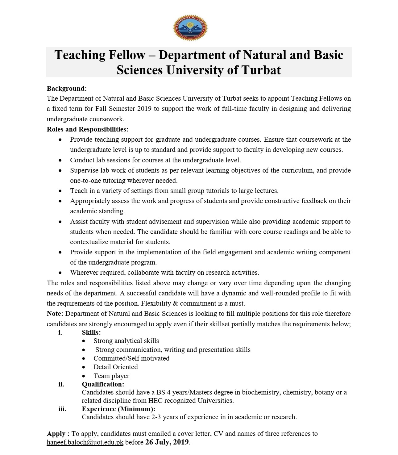 Teaching Fellow - Department of Natural and Basic Sciences University of Turbat