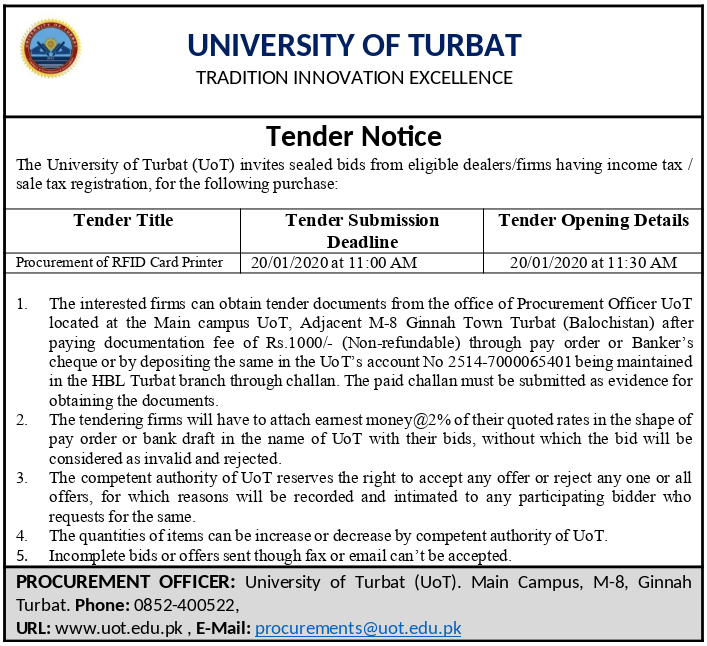 Tender Notice For The Procurement of RFID Card Printer