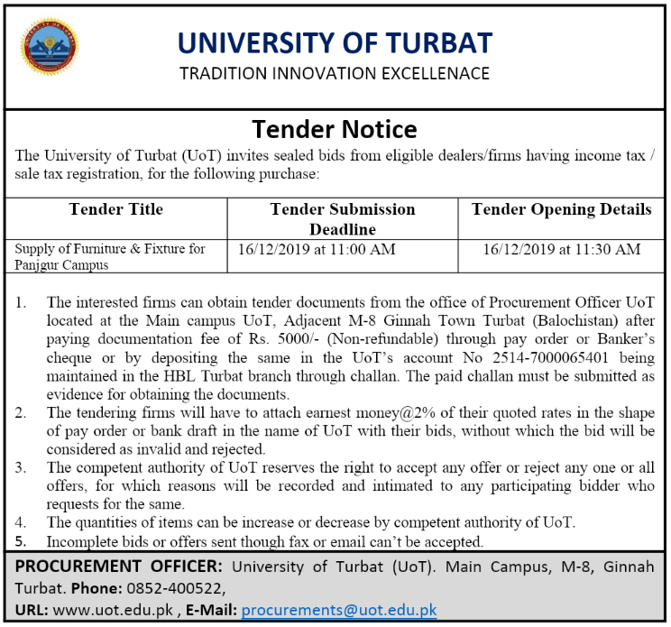 Tender Notice For The Supply of Furniture & Fixture for UoT Panjgur Campus