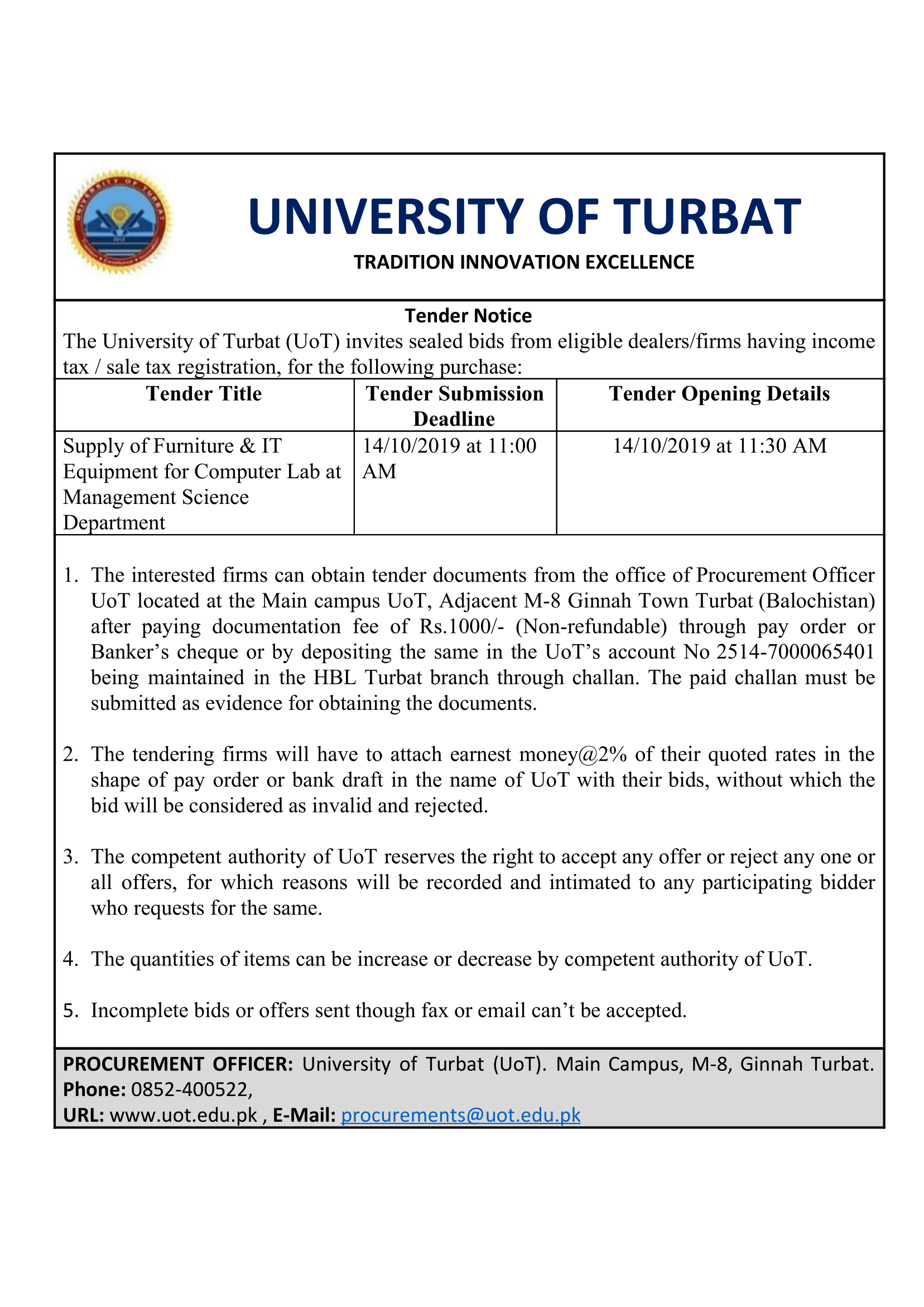 Tender Notice for Supply of Furniture & IT Equipment for Computer Lab