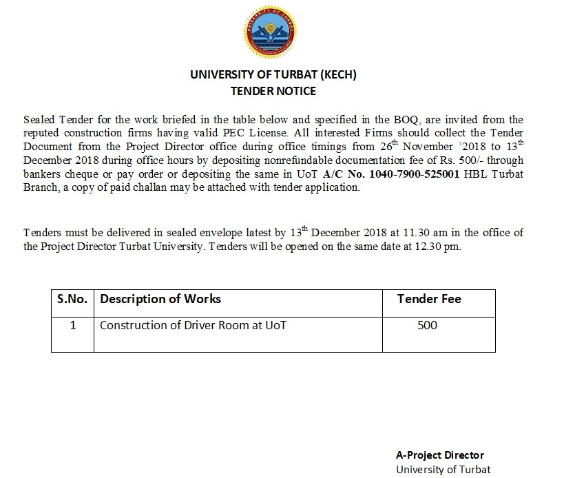 Tender Notice (Construction of Driver Room at UoT)