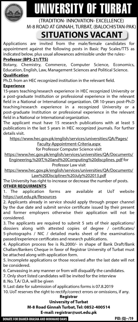 Situations Vacant for Professor (BPS-21/TTS)