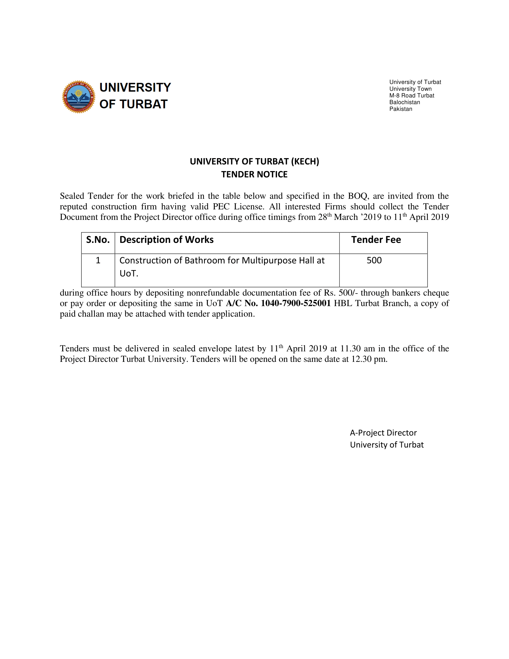 Tender Notice (Construction of Bathroom for Multipurpose Hall at UoT)