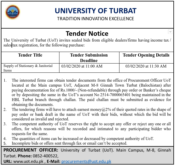 Tender Notice For The Supply of Stationery & Janitorial Items