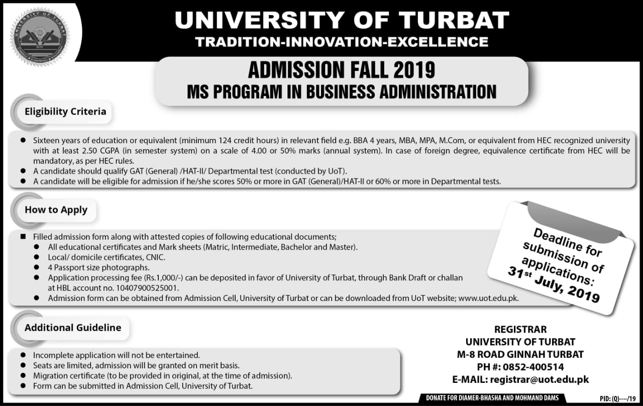 Admission Fall 2019 - MS Program in Business Administration
