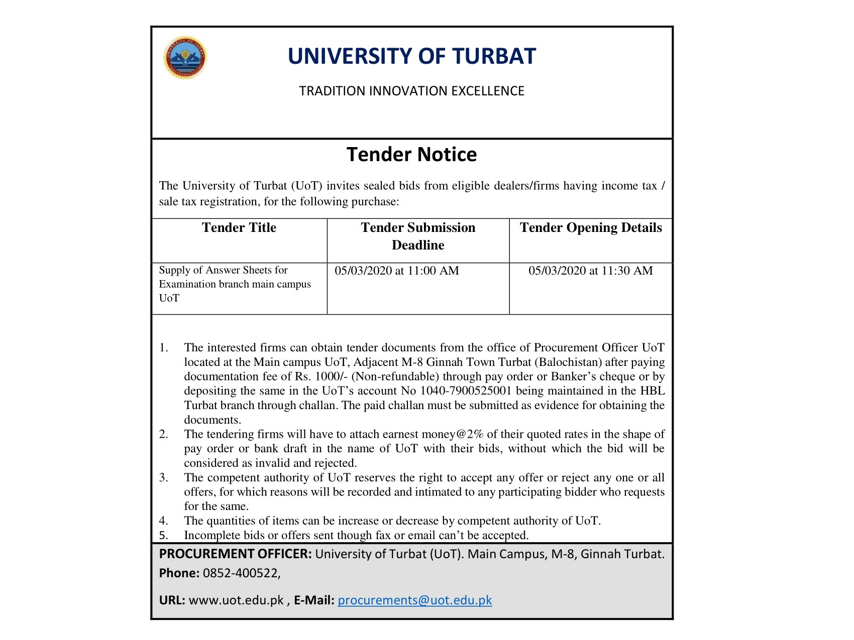 Tender Notice (Supply of Answer Sheets for Examination Branch main Campus)