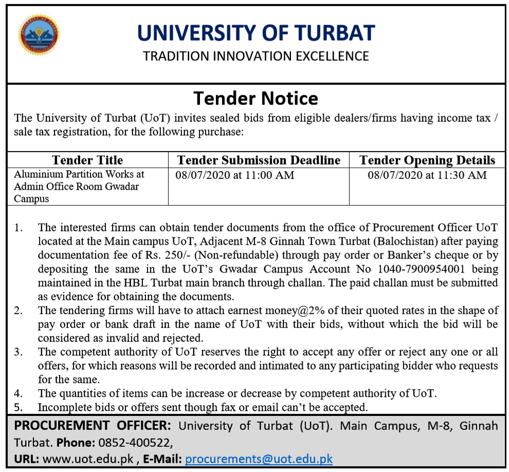 Tender Notice for Aluminium Partition Works at Admin Office Room UoT Gwadar Campus