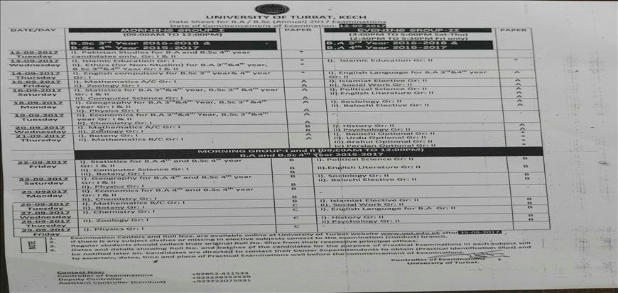 B.A / B.Sc ANNUAL-2017 EXAMINATIONS, Date Sheet