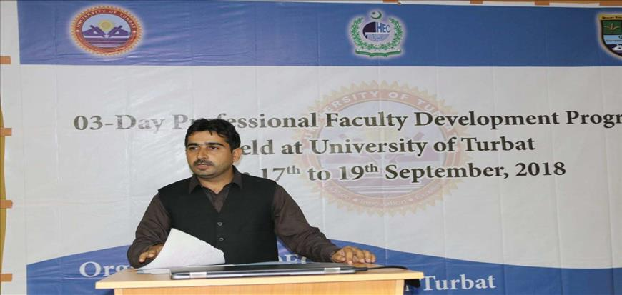A 3-Day Training Workshop organized in University of Turbat
