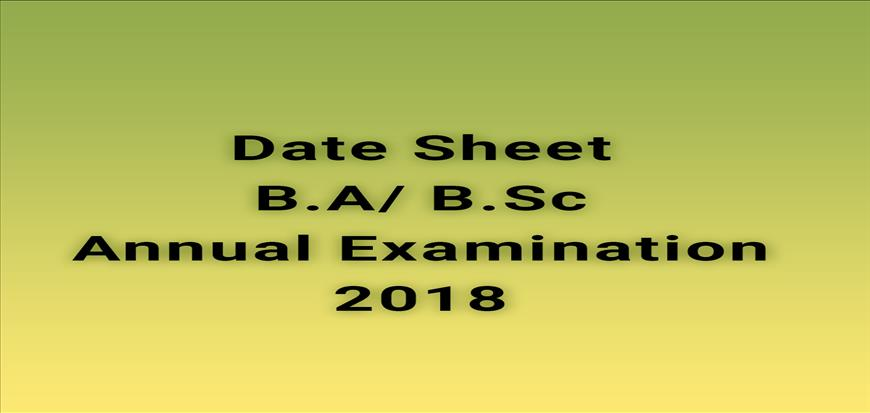 Date Sheet for B.A/B.Sc Annual Examination-2018