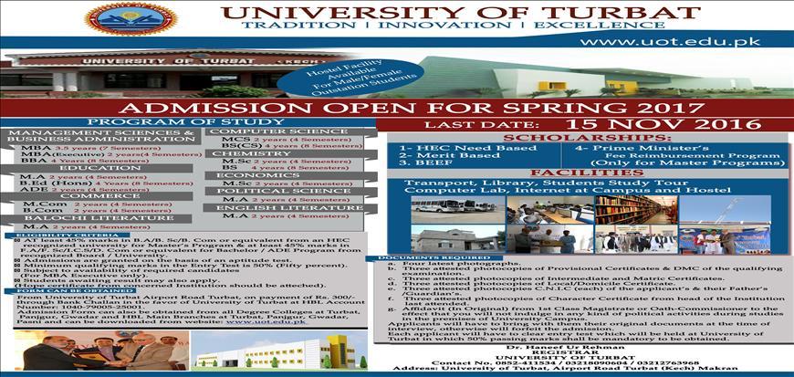 University of Turbat Admissions for Spring 2017