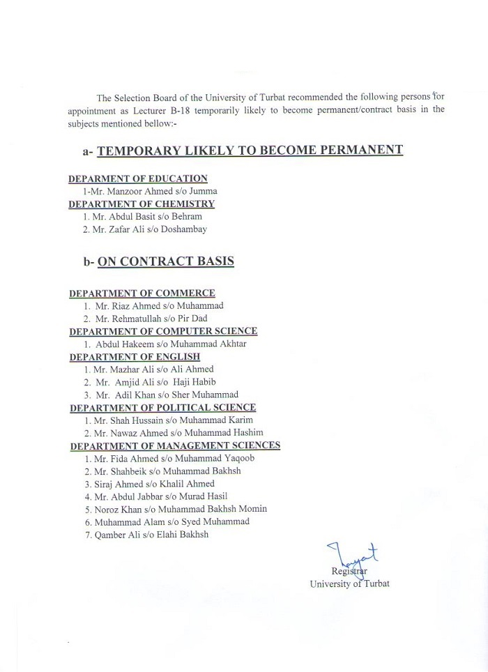 Selected Candidates for Temporary Likely to Become Permanent/Contract Basis